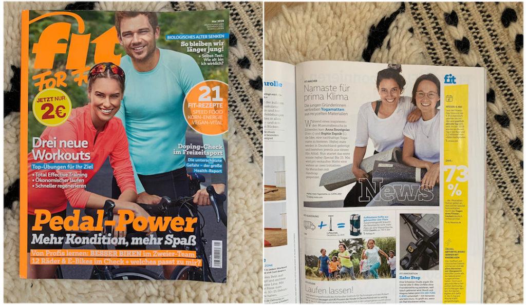 Die nachhaltigen hejhej-mats Yogamatten sind in der deutschen Ausgabe der Fit For Fun erschienen.