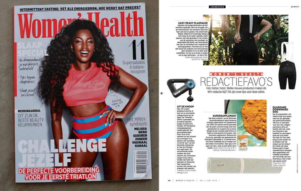 The recycled hejhej-mat yoga mat made it in the Dutch edition of Women's Health.