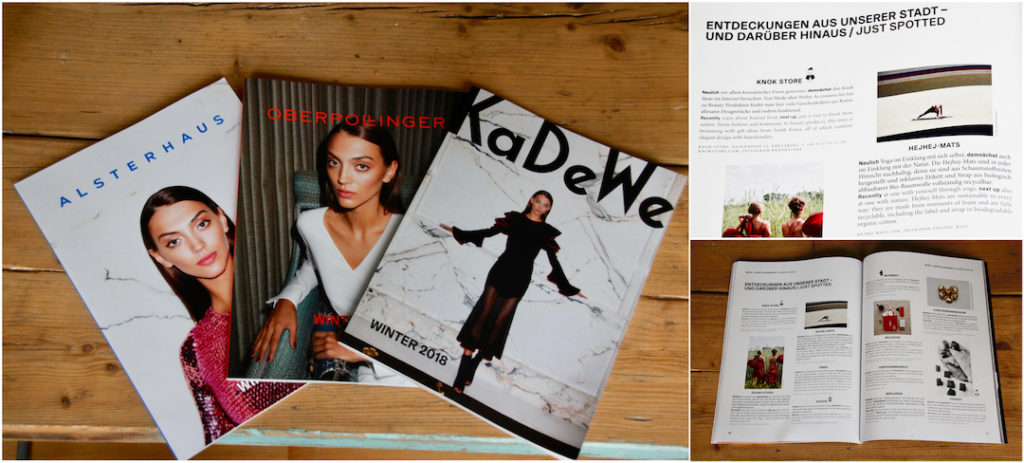 The recycled hejhej-mats yoga mats can be found in the Christmas magazines of KADEWE, ALSTERHAUS and OBERPOLLINGER.