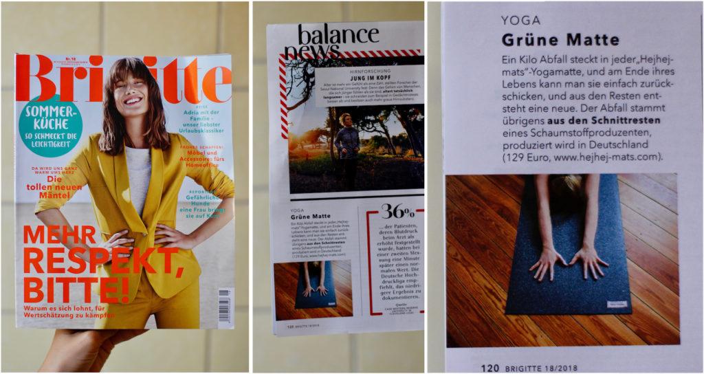 The Brigitte recommends her readers the hejhej-mats yoga mat as a green mat.