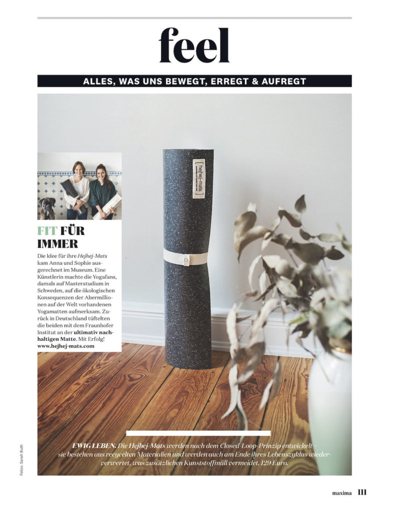 The Austrian magazine maxima has dedicated a whole page to the rather dark hejhej-mat's yoga mat.