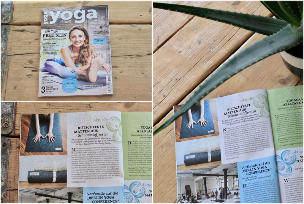 Yoga Aktuell reports about the hejhej-mats yoga mats as non-slip mats made of foam remnants.