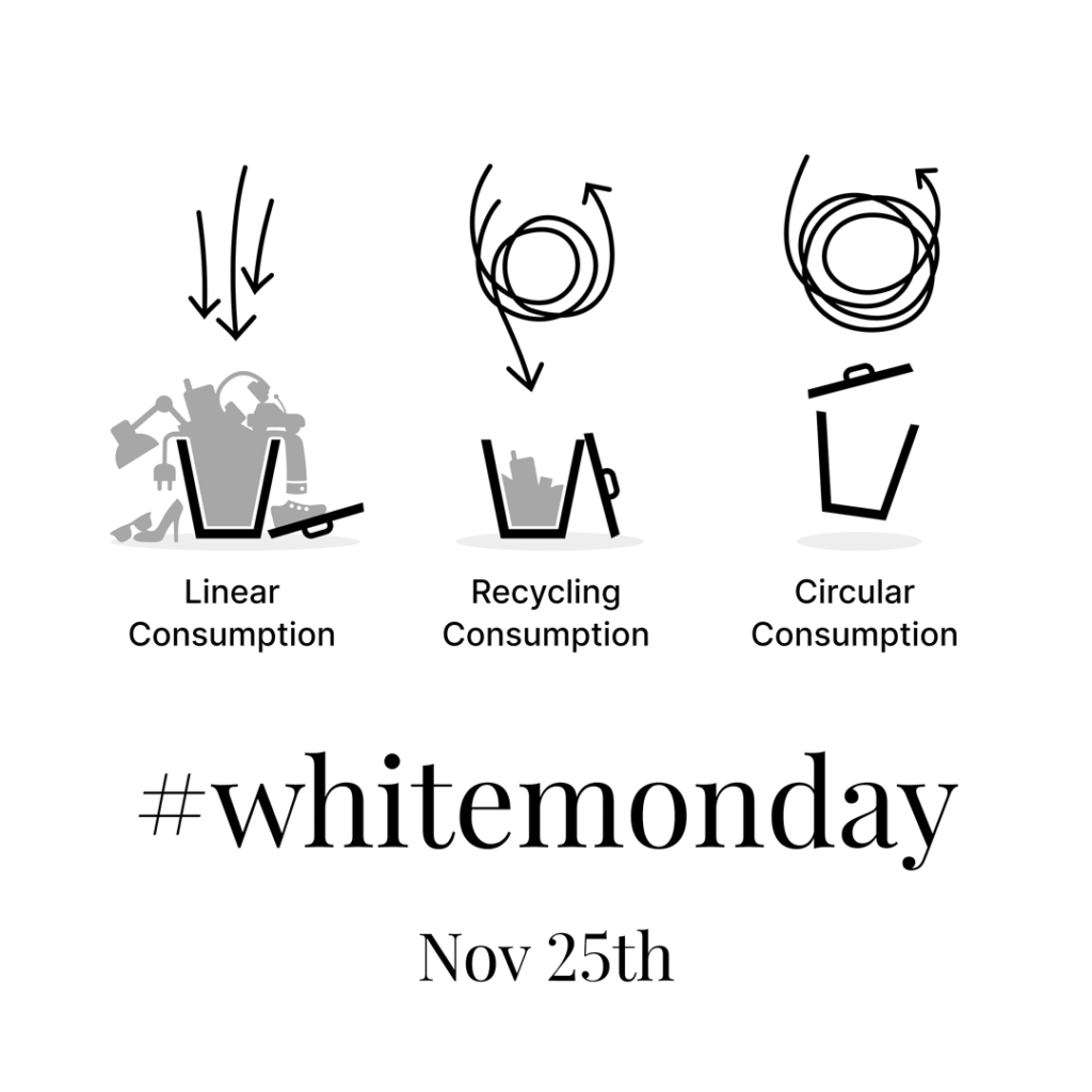 White Monday is all about the circular economy and questions the linear as well as the recycling consumption. That's why, we are pushing White Monday in Germany.