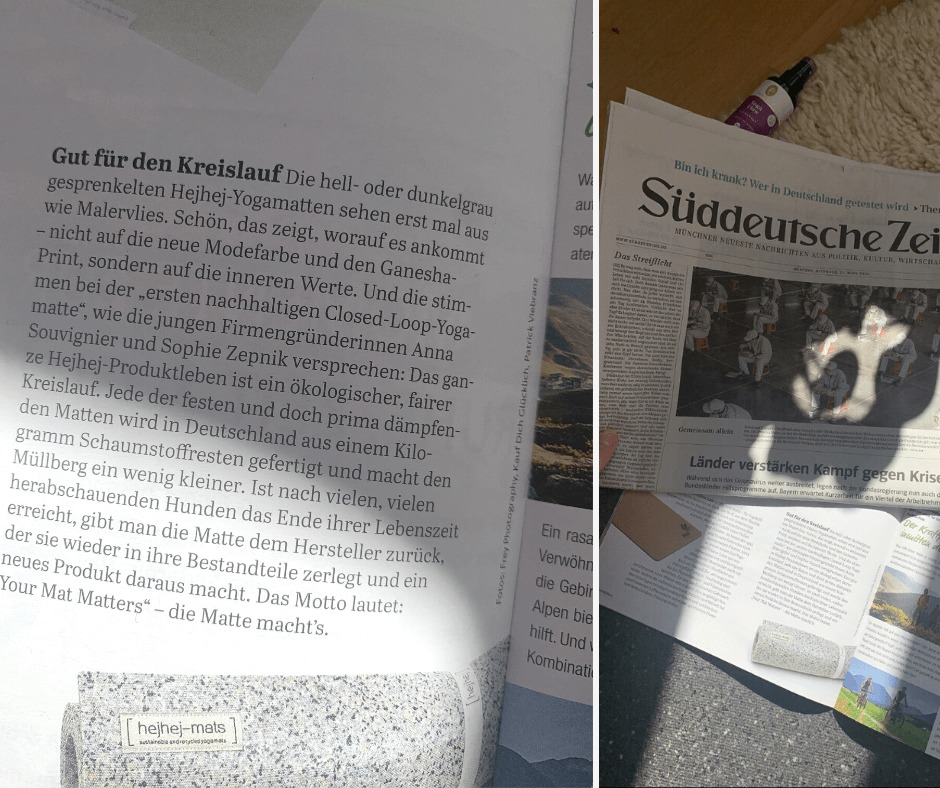 The hejhej-mats yoga mats were mentioned in the wellness supplement of the Süddeutsche Zeitung.
