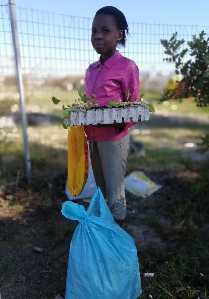 Mädchen mit eingepflanzten Gemüsesetzlinge