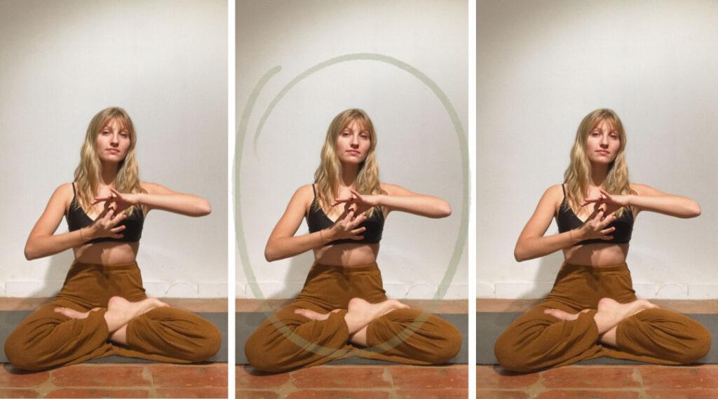 Frau im Lotussitz Hände in Gebärdensprache gebärden Yoga