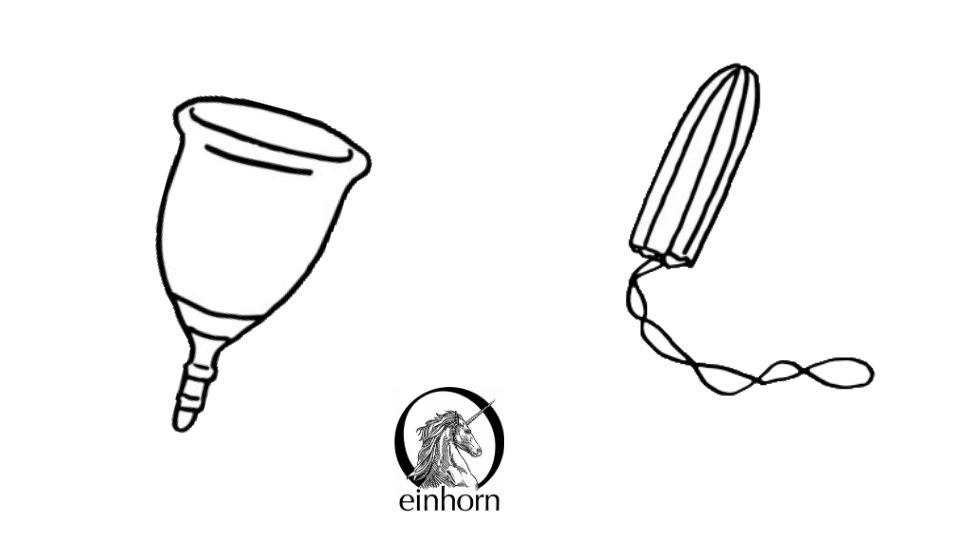 Menstruationstasse und Bio-Baumwoll-Tampon von Einhorn für deine Periode