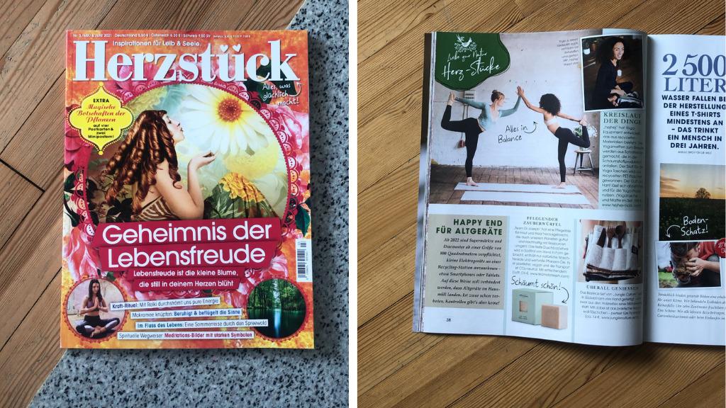 Herzstück Magazin Mai und Juni Ausgabe 2021 mit hejhej-mats Erwähnung.