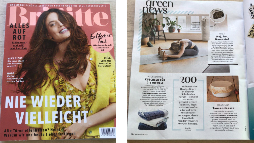 hejhej-bolster Erwähnung in der Brigitte Zeitschrift in der Ausgabe Mai 2021