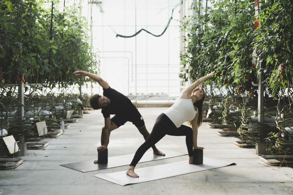 Trikonasana, auch Dreieck mit Unterstützung des nachhaltigen hejhej Yogablock