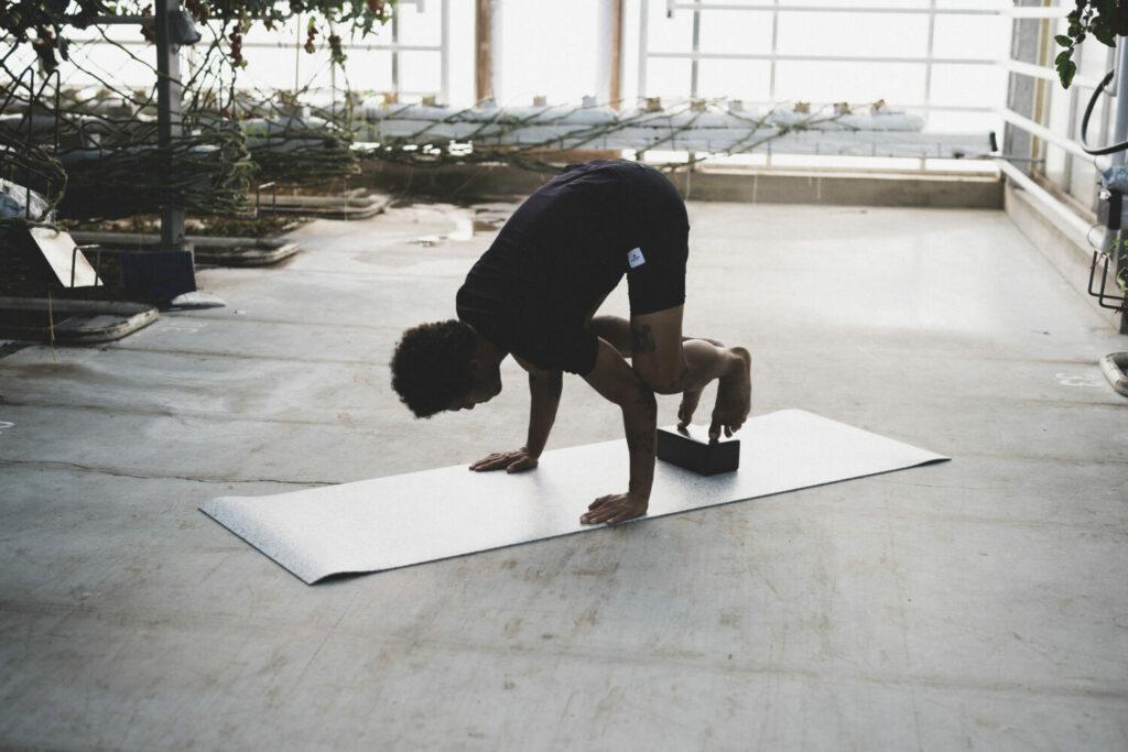 Die Krähe mit den Füßen auf den Yogablöcken von hejhej